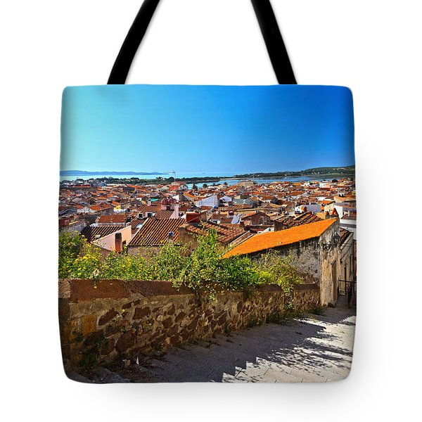 stairway and ancient walls in Carloforte Tote Bag