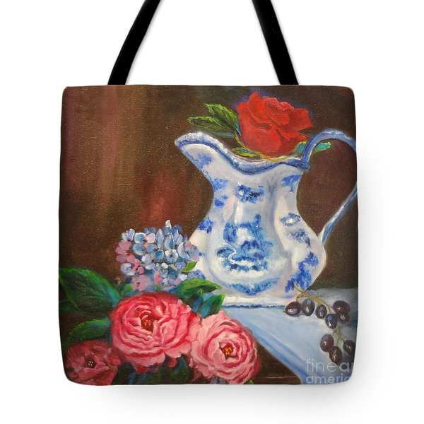 Tote Bag featuring the painting Still Life With Blue And White Pitcher by Jenny Lee