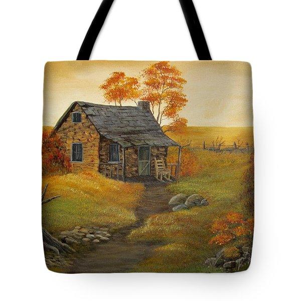 Stone Cabin Tote Bag by Kathy Sheeran