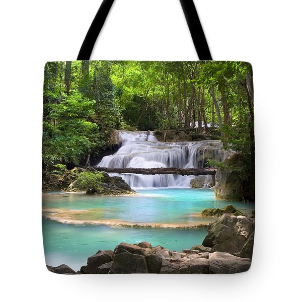 Stream With Waterfall In Tropical Forest Tote Bag