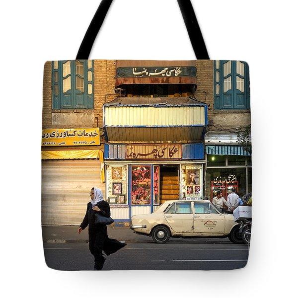 Street Scene In Teheran Iran Tote Bag