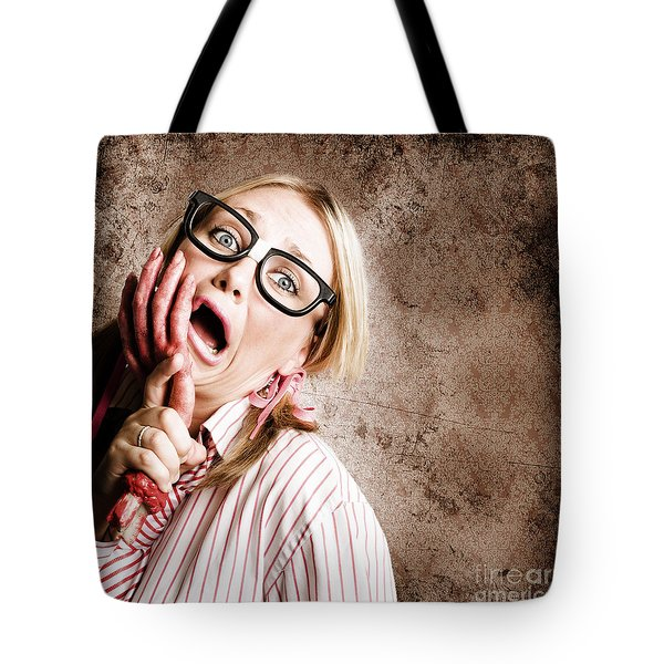 Stressed Businesswoman Under Attack At Work Tote Bag