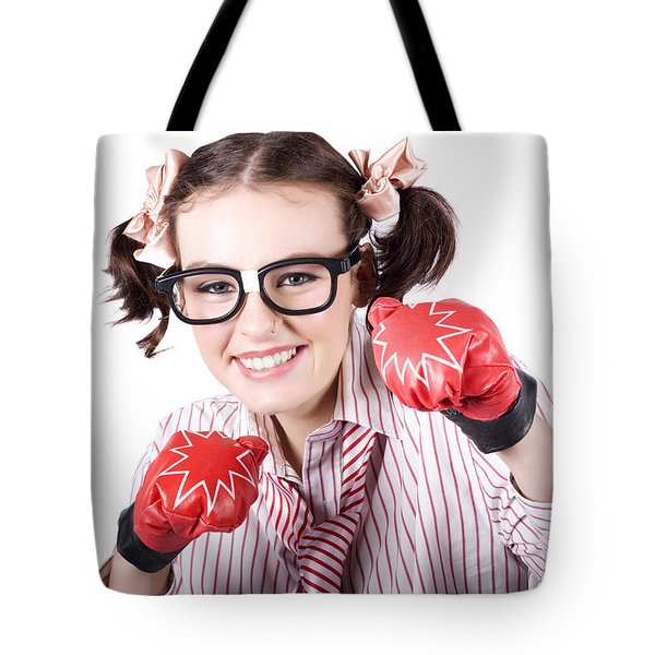 Strong Driven Business Woman Wearing Boxing Gloves Tote Bag