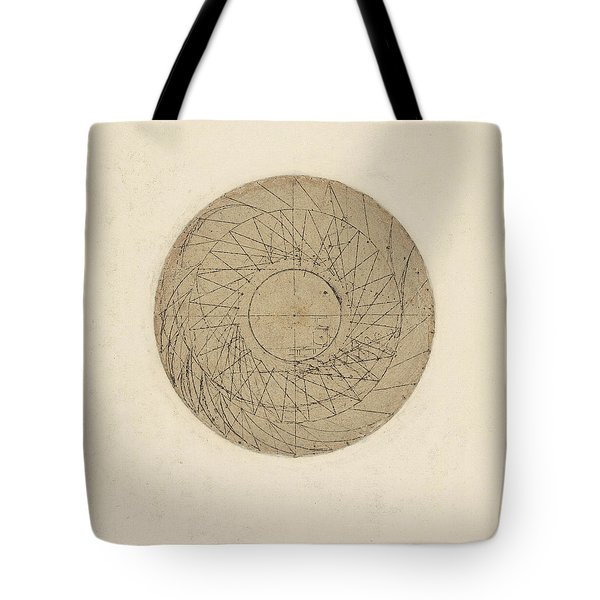 Study Of Water Wheel From Atlantic Codex Tote Bag by Leonardo Da Vinci