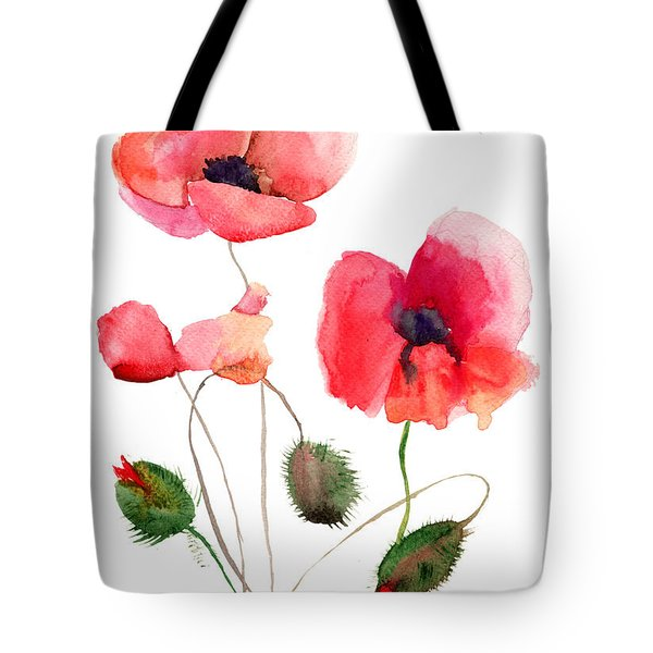Stylized Poppy Flowers Illustration Tote Bag