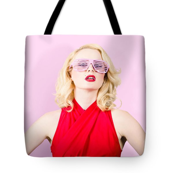 Summer Fashion Model. Girl In A Pink Sun Glasses Tote Bag