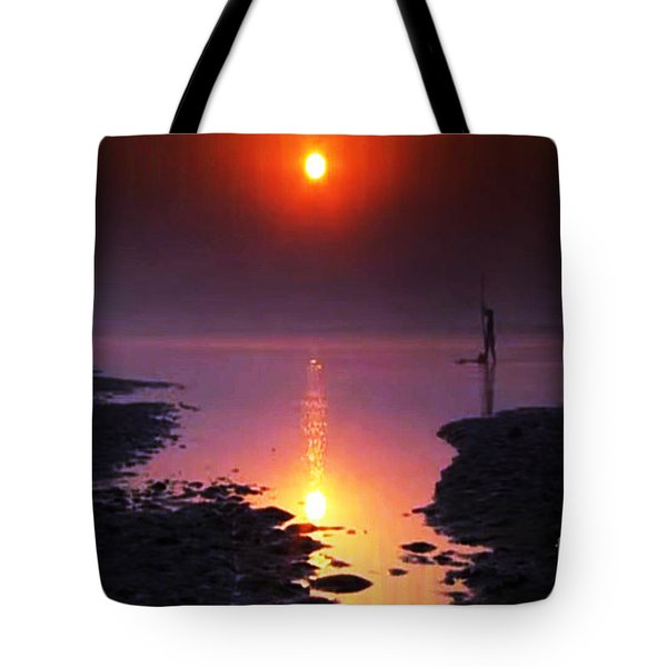 Sunset At Ganga River In The Planes Of Provinces Tote Bag