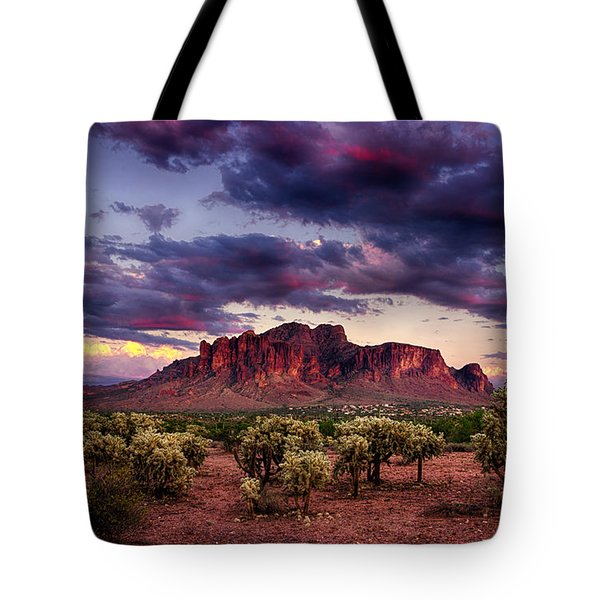Sunset At The Superstitions  Tote Bag