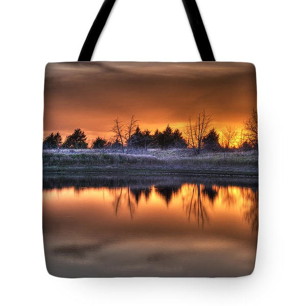 Sunset Over Bryzn Tote Bag by Art Whitton