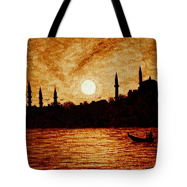 Tote Bag featuring the painting Sunset Over Istanbul Original Coffee Painting by Georgeta  Blanaru
