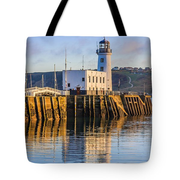 Sunset Over Scarborough Lighthouse Tote Bag