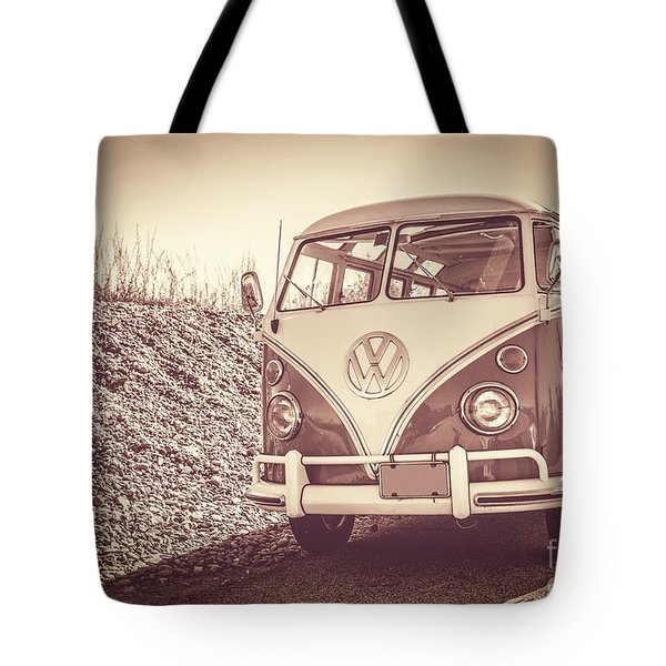 Surfer's Vintage Vw Samba Bus At The Beach Tote Bag by Edward Fielding
