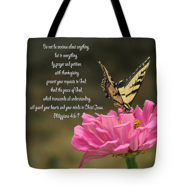 Swallowtail On A Zinnia Tote Bag by Debby Pueschel