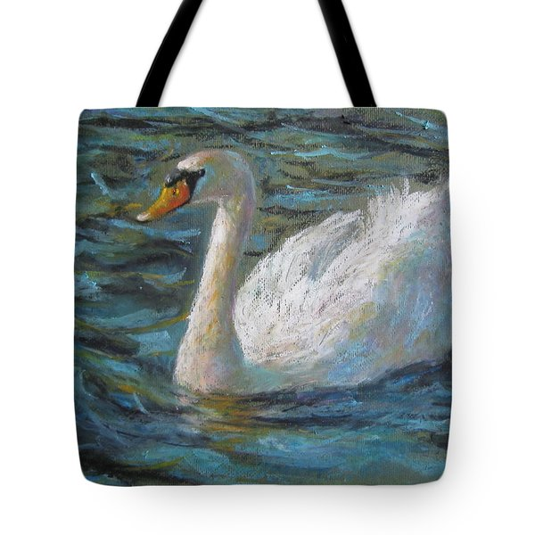 Tote Bag featuring the painting Swan by Jieming Wang