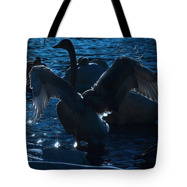 Swan Spreads Its Wings Tote Bag by Tommytechno Sweden