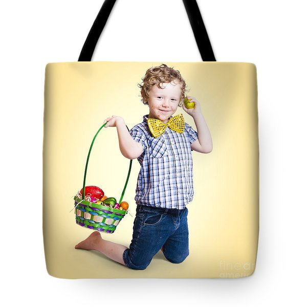Sweet Little Child Holding Easter Egg Basket Tote Bag