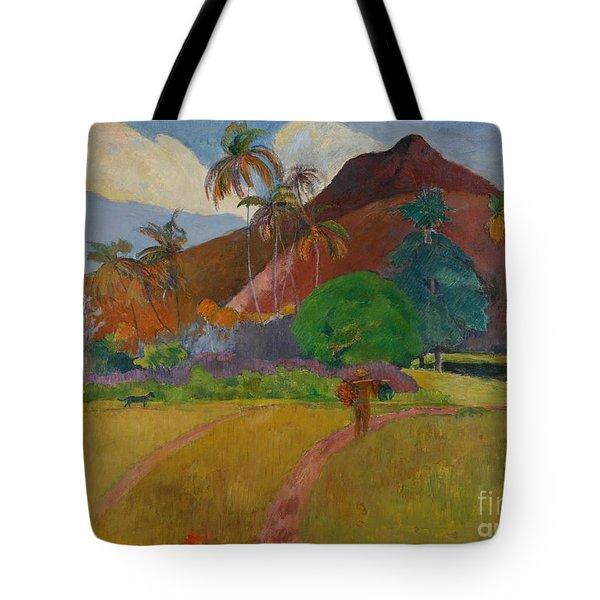 Tahitian Landscape Tote Bag by Paul Gauguin