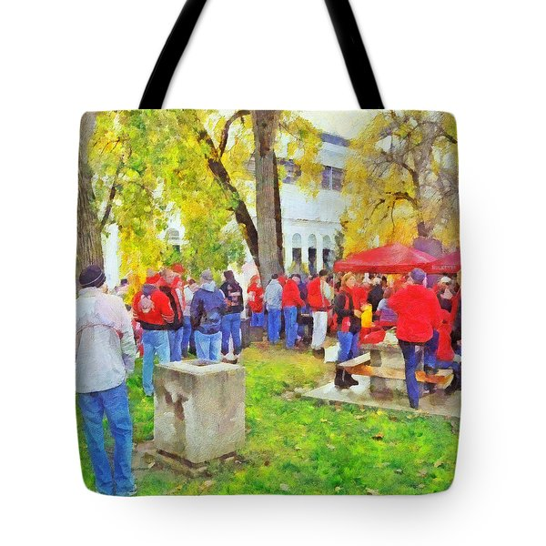 Tailgating Outside Of The Stadium. 2 Tote Bag