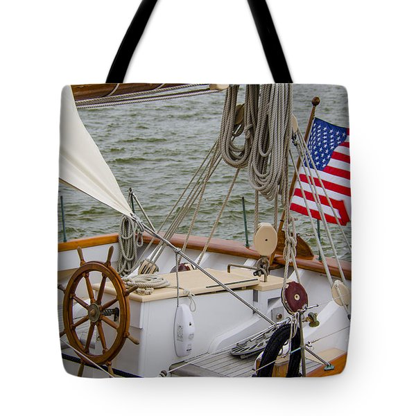 Tall Ship Wheel Tote Bag by Dale Powell