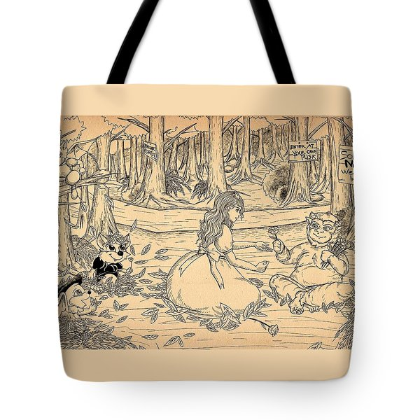 Tote Bag featuring the drawing Tammy And The Baby Hoargg by Reynold Jay