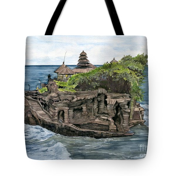 Tote Bag featuring the painting Tanah Lot Temple Bali Indonesia by Melly Terpening