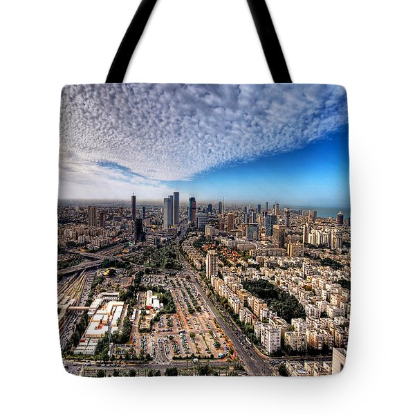 Tel Aviv Skyline Tote Bag by Ron Shoshani