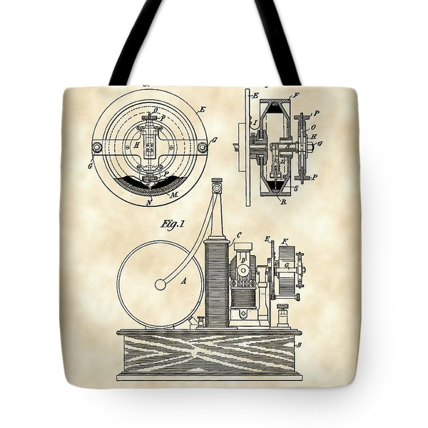 Tesla Electric Circuit Controller Patent 1897 - Vintage Tote Bag by Stephen Younts