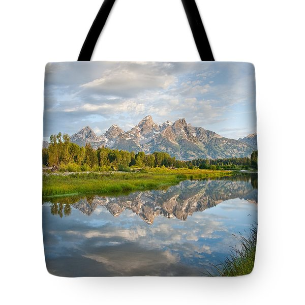 Teton Range Reflected In The Snake River Tote Bag