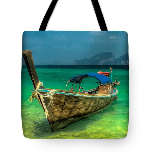Tote Bag featuring the photograph Thai Longboat by Adrian Evans