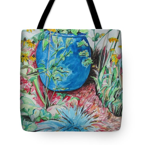 The Blue Flower Pot Tote Bag by Esther Newman-Cohen