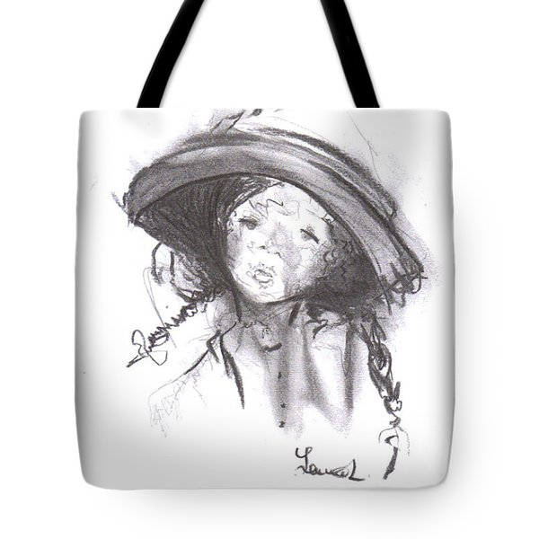 Tote Bag featuring the drawing The Bonnet by Laurie Lundquist