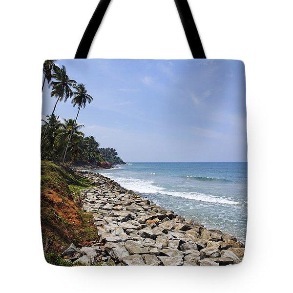 The Coast At Varkala In Kerala India Tote Bag by Robert Preston