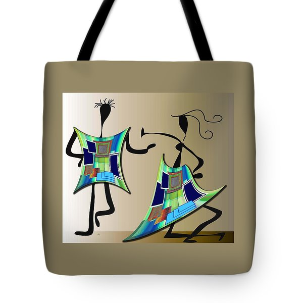 Tote Bag featuring the digital art The Dancers by Iris Gelbart