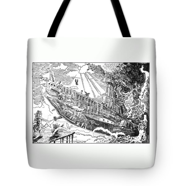 Tote Bag featuring the drawing The Flying Submarine by Reynold Jay