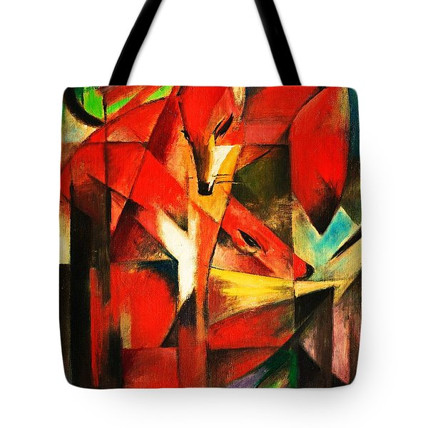 Tote Bag featuring the painting The Foxes by Franz Marc