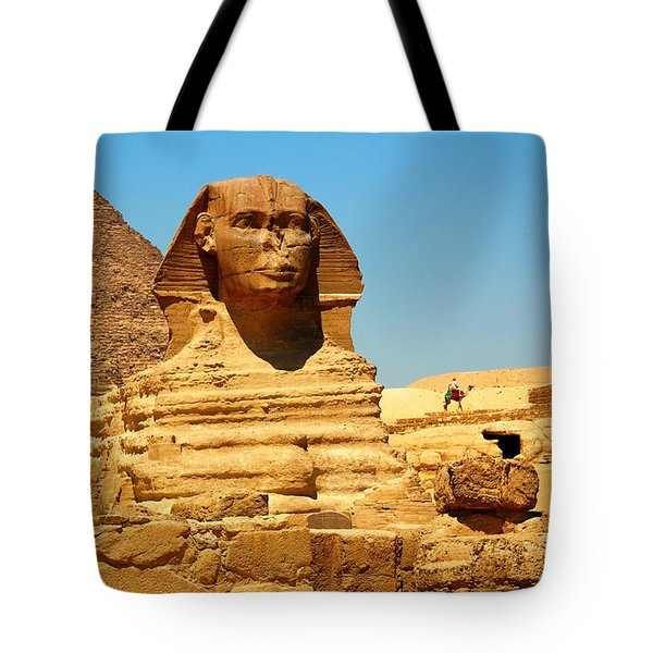 Tote Bag featuring the photograph The Great Sphinx Of Giza And Pyramid Of Khafre by Joe  Ng