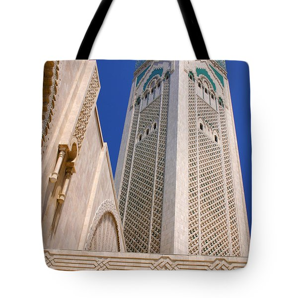 Tote Bag featuring the photograph The Hassan II Mosque Grand Mosque With The Worlds Tallest 210m Minaret Sour Jdid Casablanca Morocco by Ralph A  Ledergerber-Photography