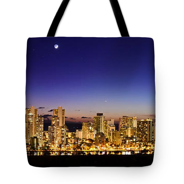 The Moon And Venus Over Honolulu Tote Bag