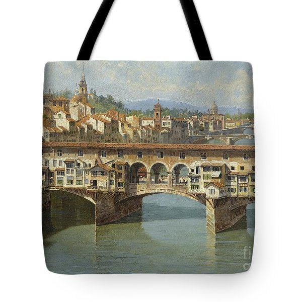 Tote Bag featuring the painting The Ponte Vecchio Florence by Celestial Images