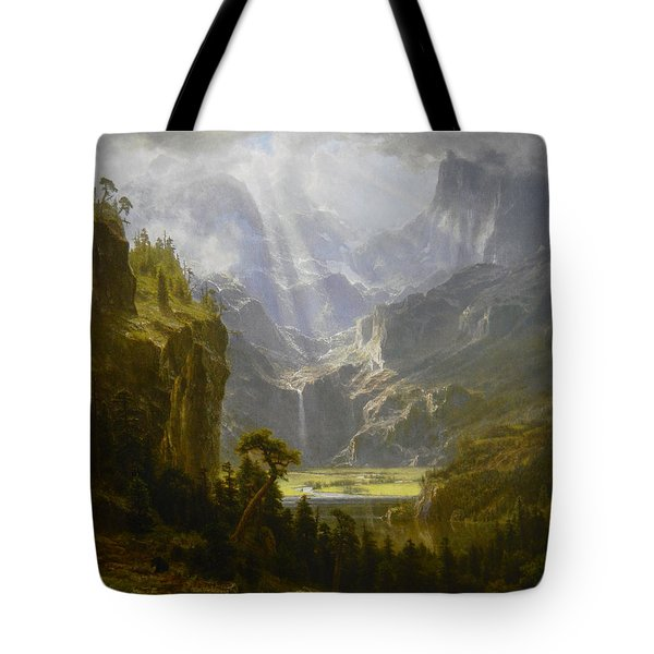 Tote Bag featuring the painting The Rocky Mountains Lander's Peak by Celestial Images
