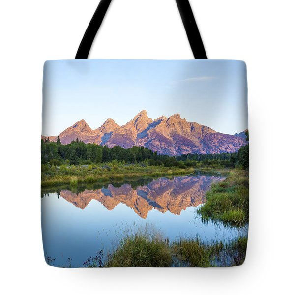 The Tetons Reflected On Schwabachers Landing - Grand Teton National Park Wyoming Tote Bag by Brian Harig