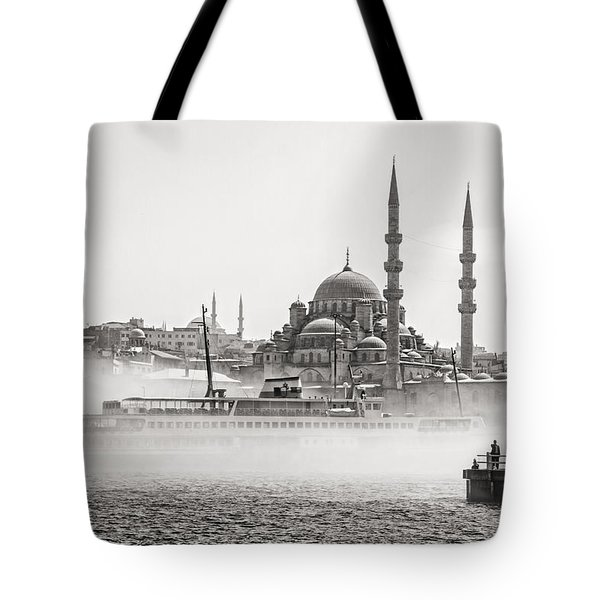 The Yeni Mosque In Fog Tote Bag