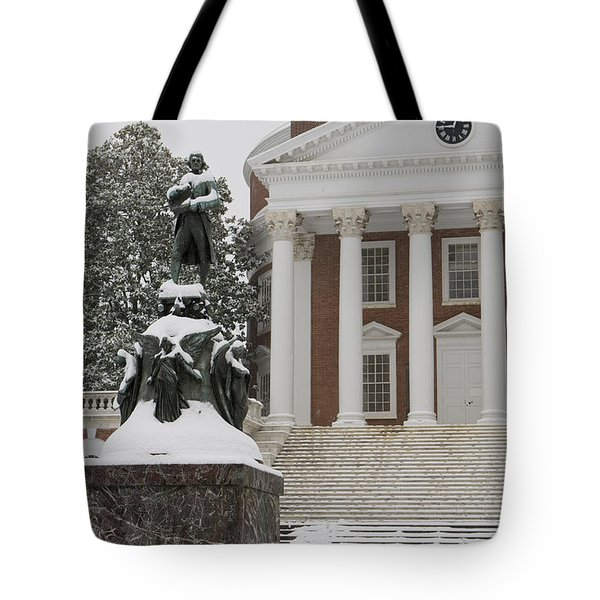 Thomas Jefferson And The Rotunda In The Snow Tote Bag