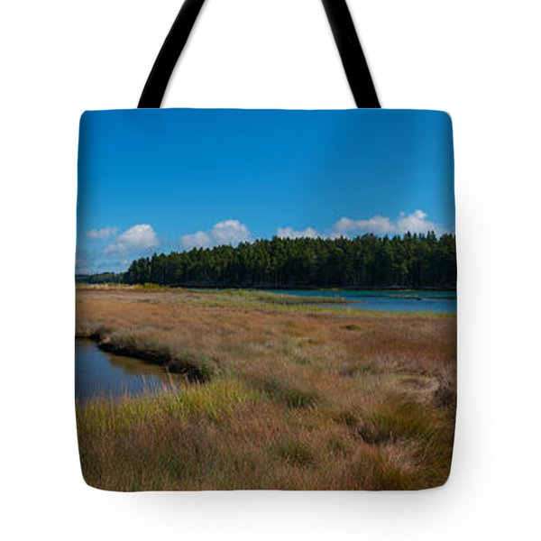 Thompson Island In Maine Panorama Tote Bag