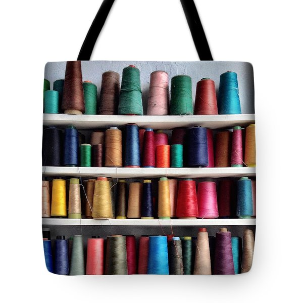 Threads Tote Bag by Julie Gebhardt