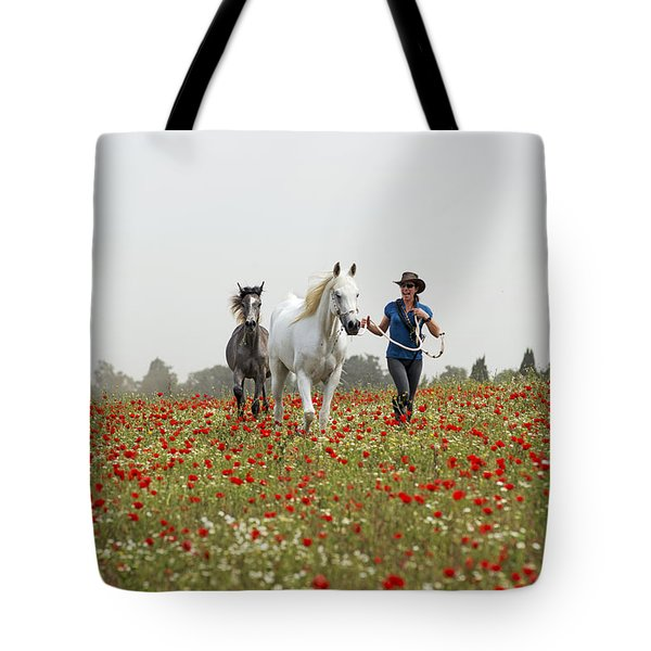 Three At The Poppies' Field... 3 Tote Bag