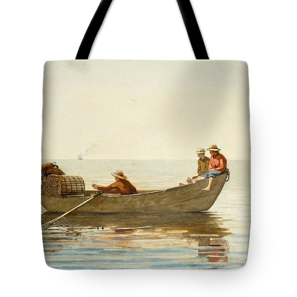 Three Boys In A Dory With Lobster Pots Tote Bag by Winslow Homer