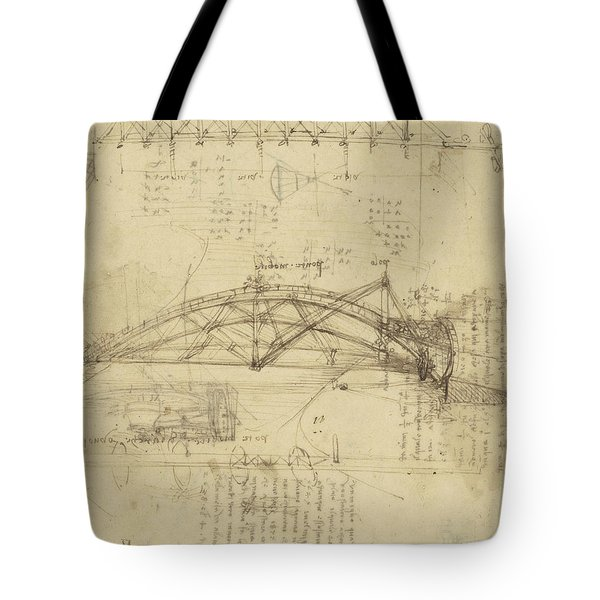 Three Kinds Of Movable Bridge Tote Bag by Leonardo Da Vinci