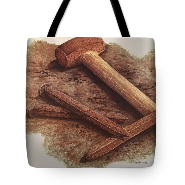 Three Rusty Nails Tote Bag by Mickey Clogher