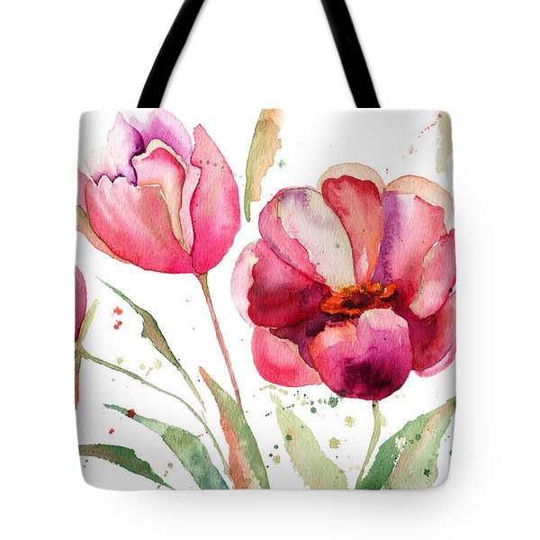 Three Tulips Flowers  Tote Bag